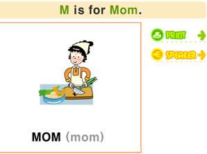 26个字母学习_M字母书写/发音/涂色及单词